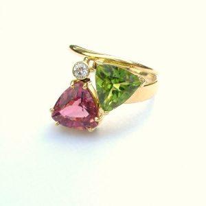 Diamond, trillion cut peridot & pink tourmaline set in 18ct gold wrapped style ring