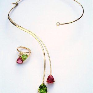 Pink tourmaline, peridot (trillion cut & 11ct diamond set in 18ct gold forged wrap style neckpiece