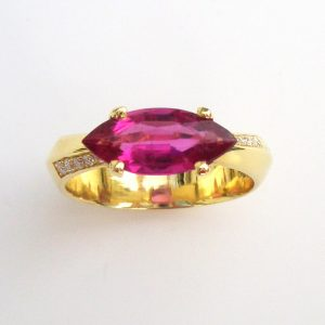 Rubylite marquise 18ct ring