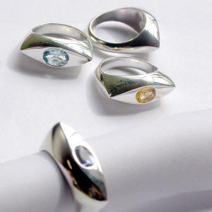 Eye shape silver rings