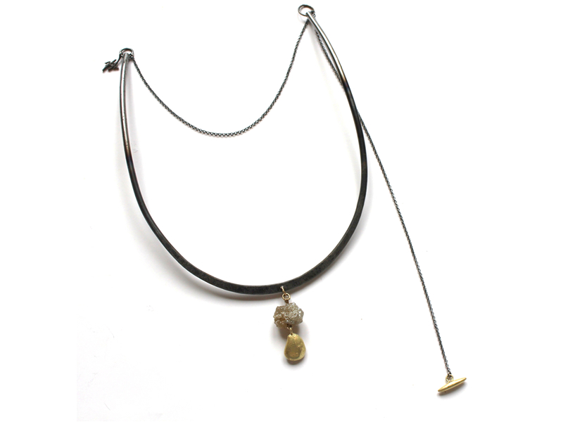 Natural champagne diamond uncut with gold nugget on forged steel and oxidised silver necklace