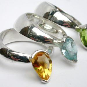 Sticky rock silver rings citrine pear shape