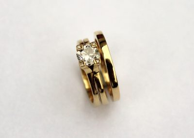 18ct yellow gold wedding band with solitaire engagement ring, bespoke