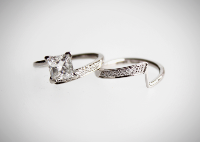 Princess cut & pave Diamonds engagement and wedding ring wrapped spike style