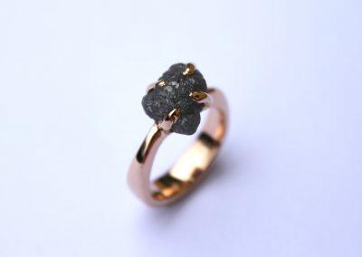 Rough grey Diamond set in 18ct rose gold engagement ring