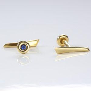 18ct gold spikeful cufflinks withsapphires
