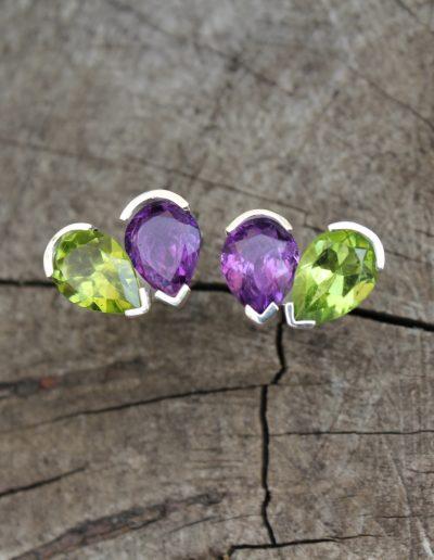 Bespoke Peridot and Amethyest silver earrings