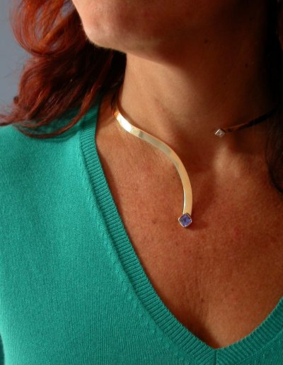 Bespoke Tanzanite and Diamond, hand forged 18ct gold necklace, on client