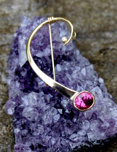 Bespoke brooch, 60th wedding anniversary and 80th birthday gift 18ct gold diamond and pink tourmaline