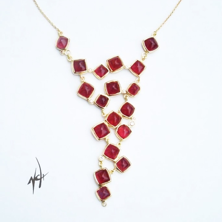 Bespoke ruby and diamond 18ct gold necklace for Princess I. Al Sabah of kuwait