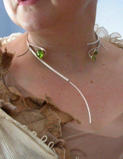 Bespoke silver, gold and peridot neckpiece
