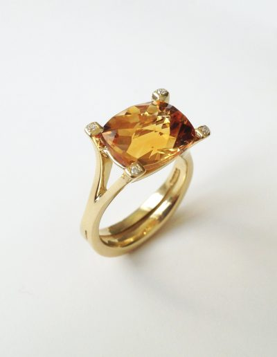 Natural citrine and diamonds set in 18ct gold split shank style ring, commision by Lady Evans