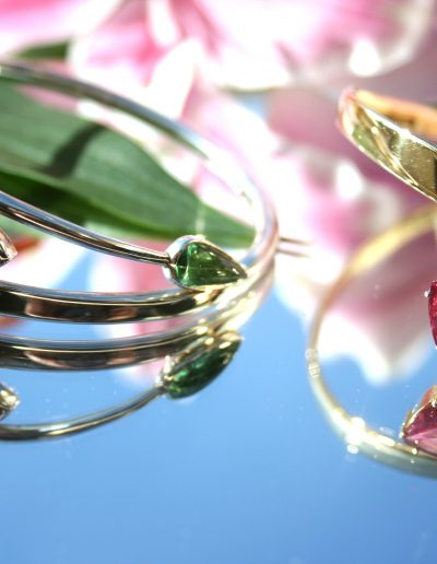 Once off creations, pink and green tourmaline, silver bangle and 18ct gold bangle with pink tourmaline and diamonds