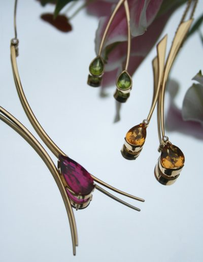 Selection of once off creations, rubelite & diamond pendant, peridot earring and citrine pendant all in 18ct gold