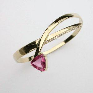 Trillion cut pink tourmaline with inlaid diamond, 18ct gold bangle