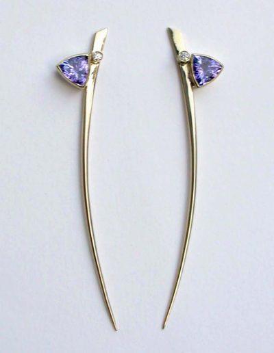 Trillion cut tanzanite and diamond set on Momma spike 18ct gold earrings