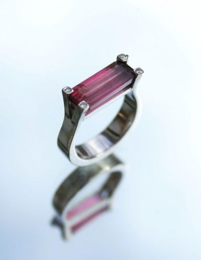 Baguette cut Rose tourmaline and diamond set in white gold ring, once off creation