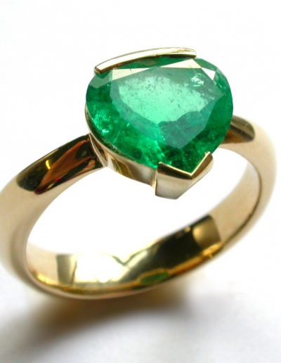 Bespoke 18ct gold and love heart Emerald for 50 years of marriage, wedding anniversary