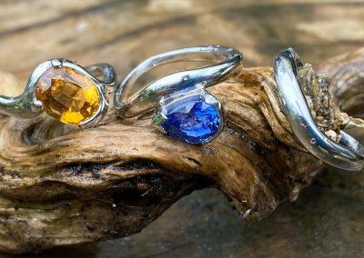 Blue & Yellow Sapphire Platinum Engagement Rings