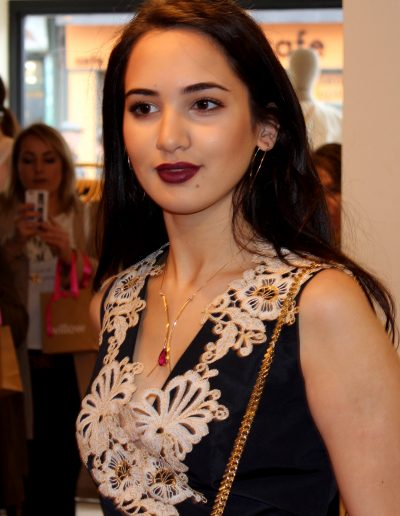 Rubylite necklace on model
