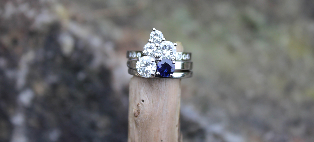 Platinum, diamond and sapphire upcycled stacking rings