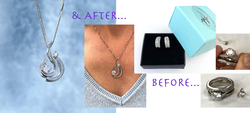 Engagement, wedding ring and odd earring upcycled to contemporary pendant and earrings