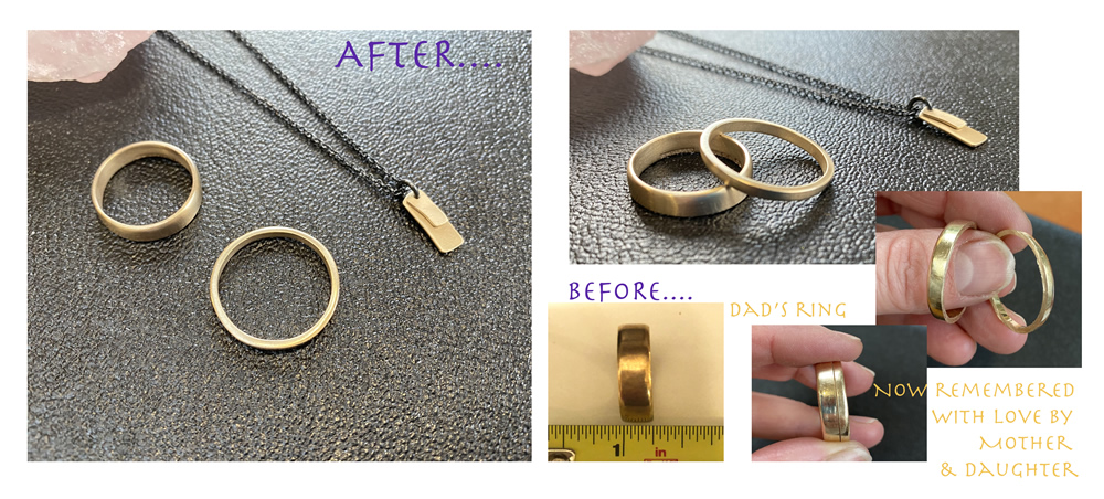 fathers inherited ring upcycled to two rings and pendant for mother and daughter