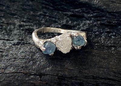 Raw Uncut Sapphires & Diamond set in a handmade bespoke platinum ring