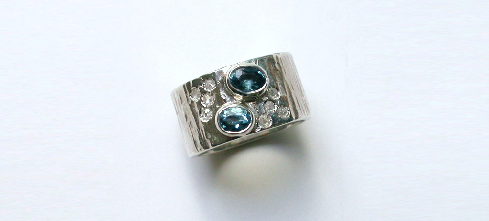Upcyced silver ring, stones from antique aunts ring
