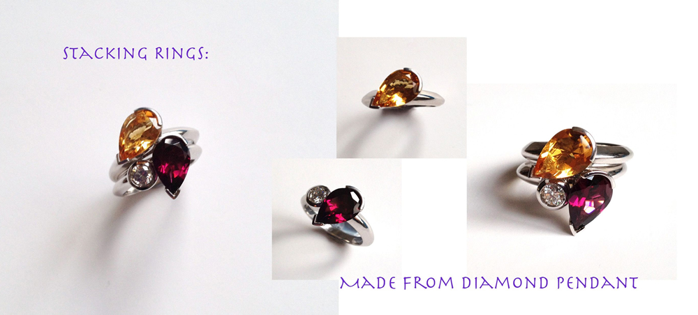 Up cycled stacking rings citrine and rods lite garnet using diamond from an old necklace