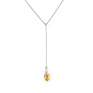 Imperial topaz set in 18ct white gold with 2pts diamond, pendant on trace chain