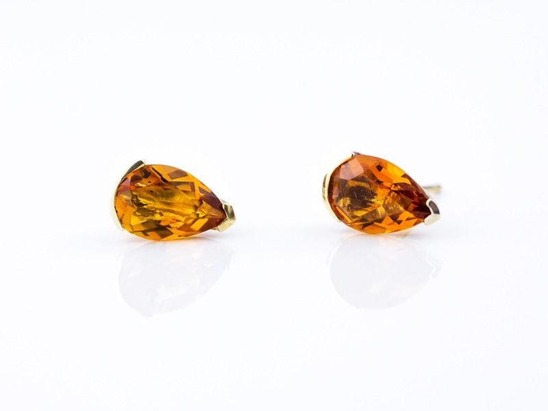 Madeira citrine pear cut 10x7 set in gold plated silver stud earrings