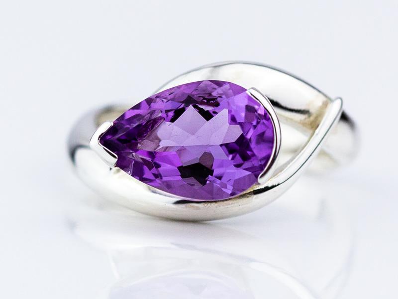 Purple Amethyst 12x8 pear cut, set in 'Embrace' style silver ring