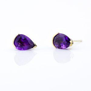 Purple Amethyst pear cut 10x7 set in gold plated silver stud earrings