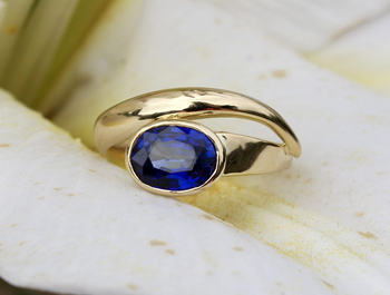 Bespoke 18ct gold ring set with blue sapphire, 50th birthday gift